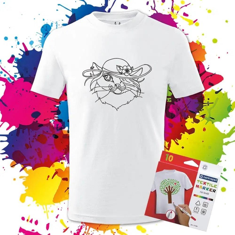 Detské tričko Mačička - Omaľovánka na tričku - Oma & Luj