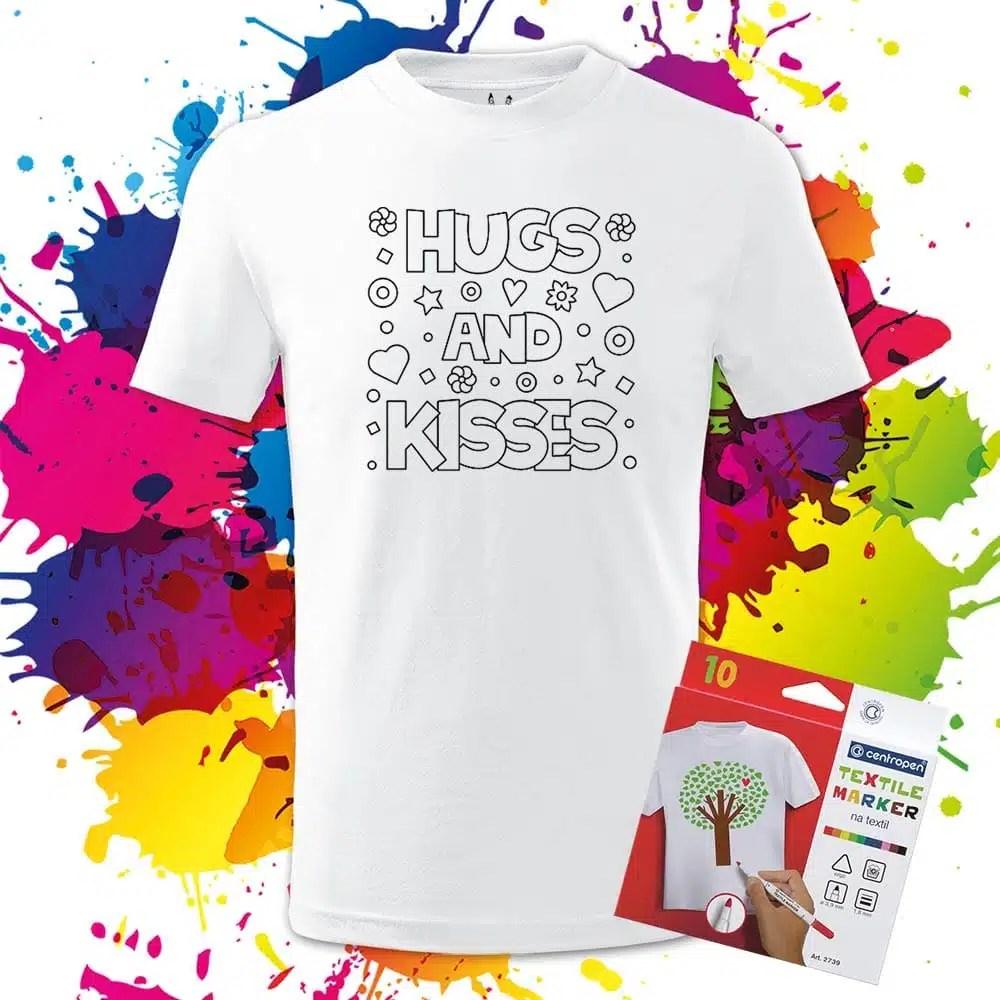 Motivačné detské tričko Objatia a bozky - Omaľovánka - Oma & Luj
