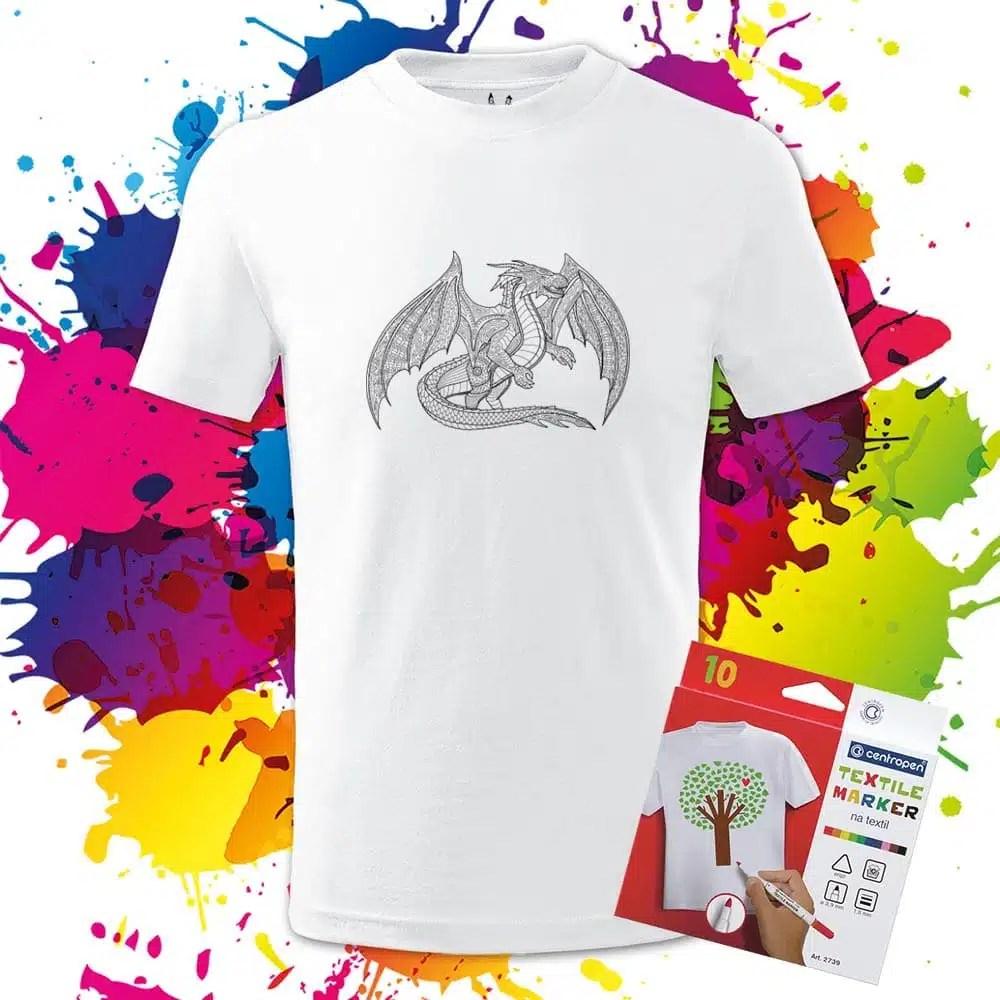 Detské tričko Fantasy Drak - Omaľovánka na tričku - Oma & Luj