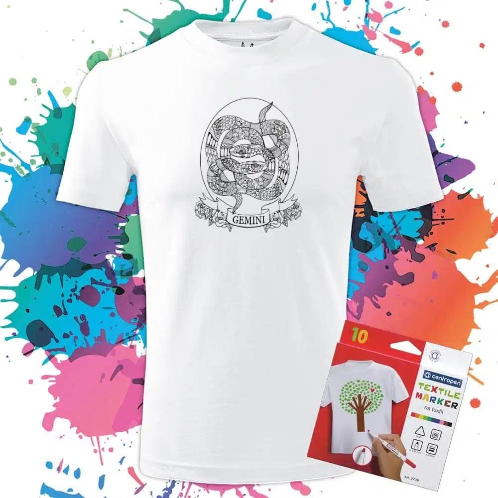 Pánske tričko Znamenie Blíženci - Gemini - Omaľovánka na tričku - Oma & Luj
