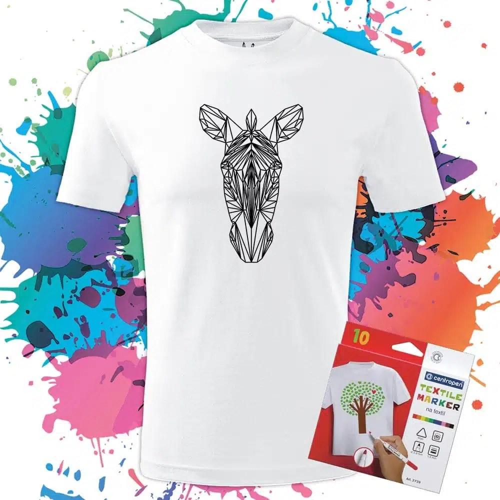 Pánske tričko Zebra Geometric - Omaľovánka na tričku - Oma & Luj - Omaluj.sk