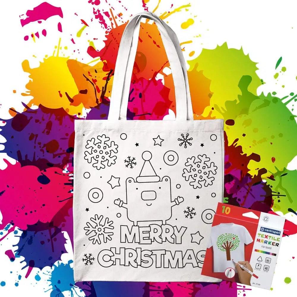 Bavlnená taška na vymaľovanie Merry Christmas Medveď - Oma & Luj