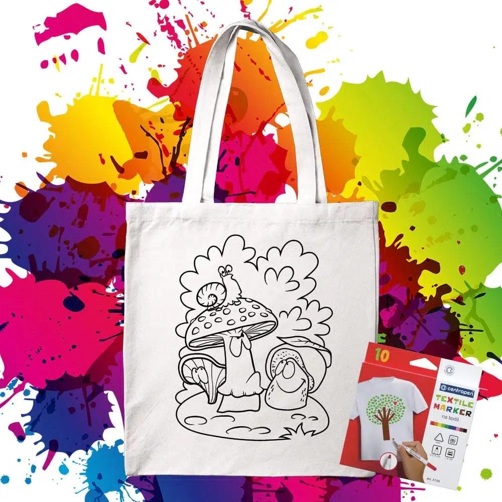 Bavlnená taška na vymaľovanie Hríbiky - Oma & Luj