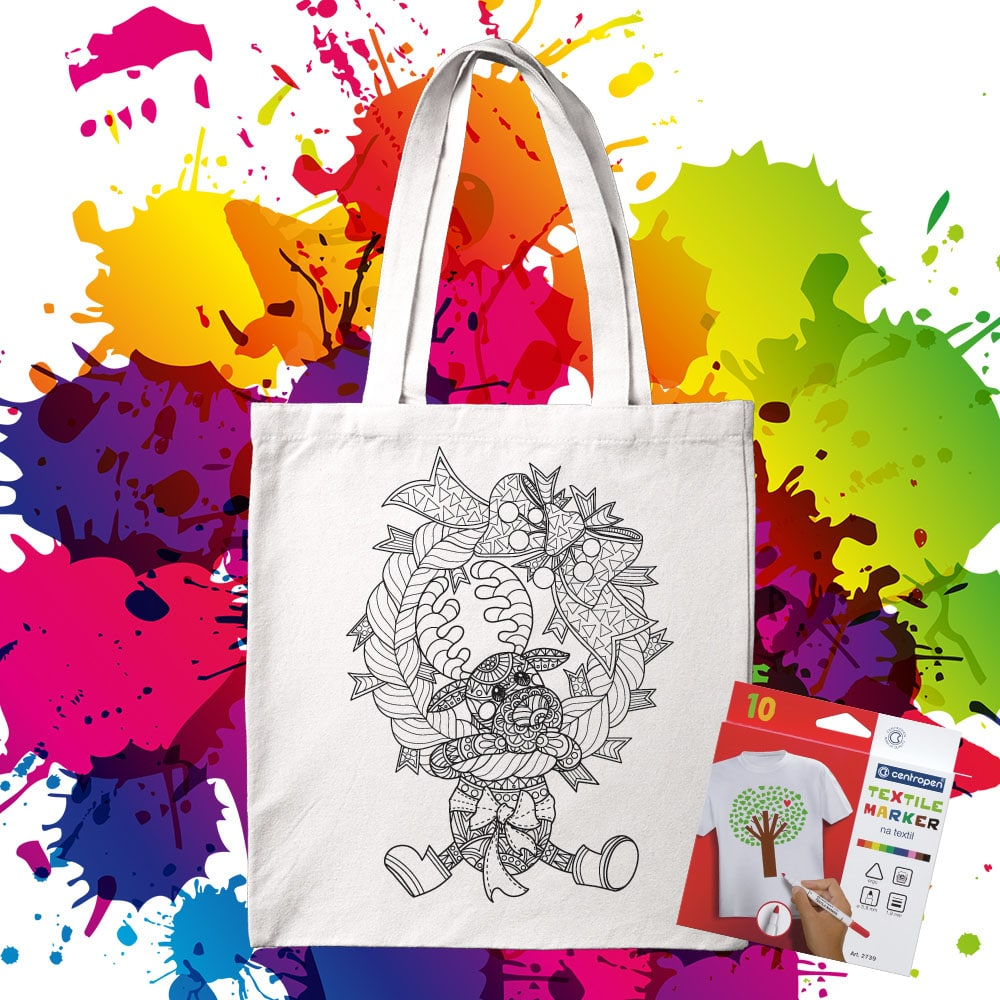 Bavlnená taška na vymaľovanie Vianočný veniec Sobík - Oma & Luj