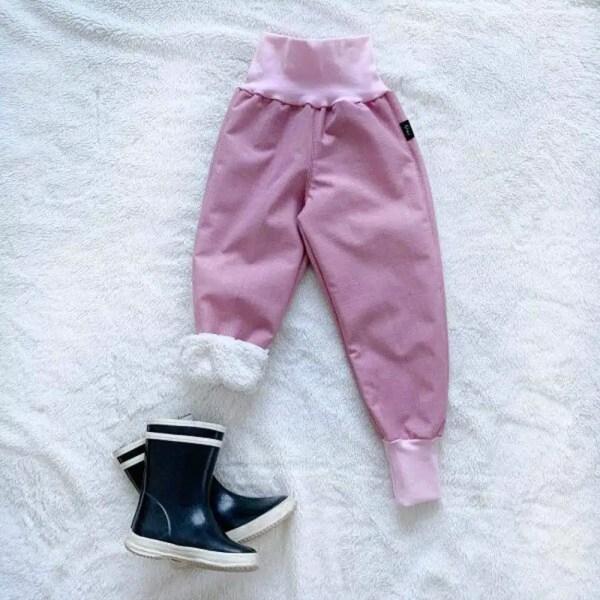 Kiwi softshellové nohavice zateplené s barančekom ružové - Oma & Luj