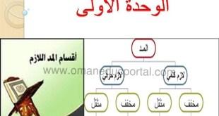 شرح درس المد اللازم للصف التاسع تربية اسلامية الفصل الاول