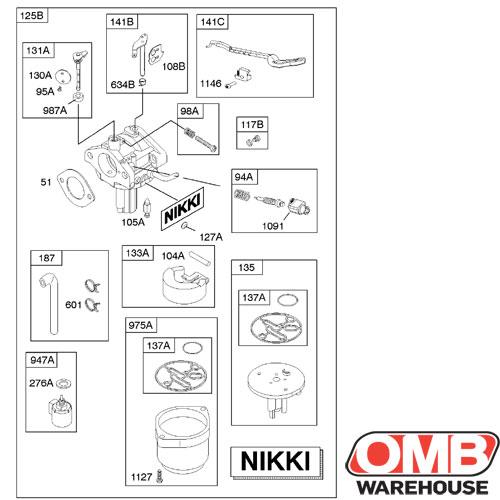 OEM Carburetor Briggs & Stratton 794572 Nikki Manual Choke