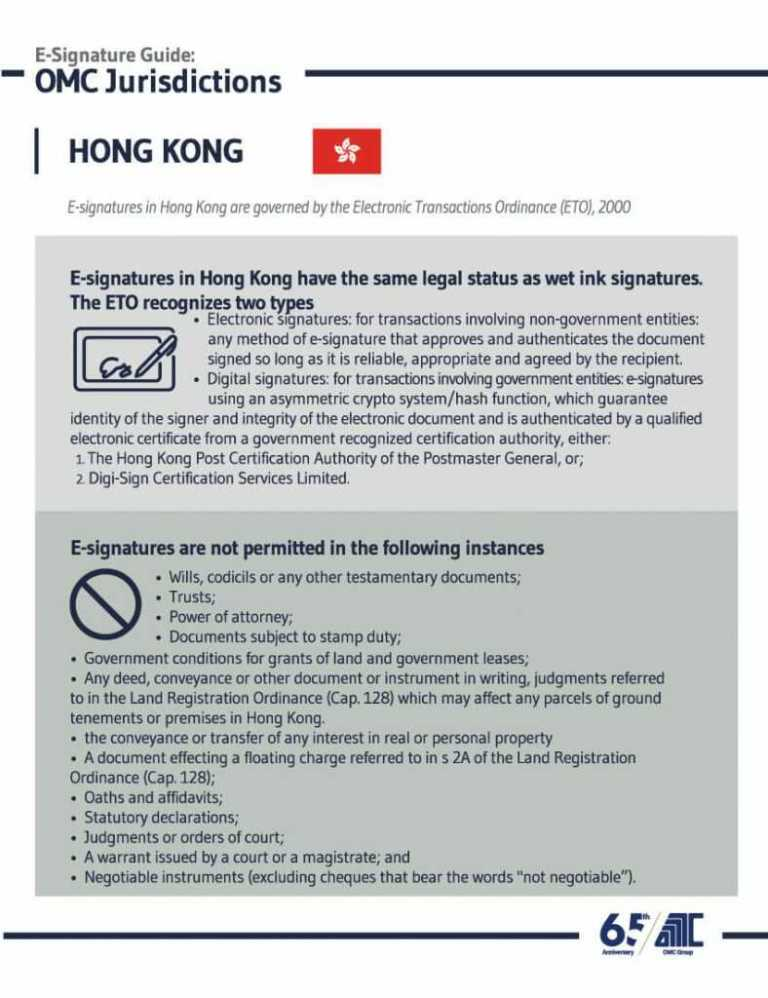Hong Kong - E-Signature Guide OMC Group Jurisdictions