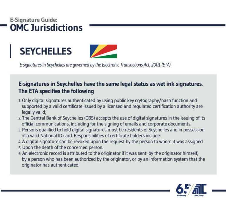 Seychelles - E-Signature Guide OMC Group Jurisdictions