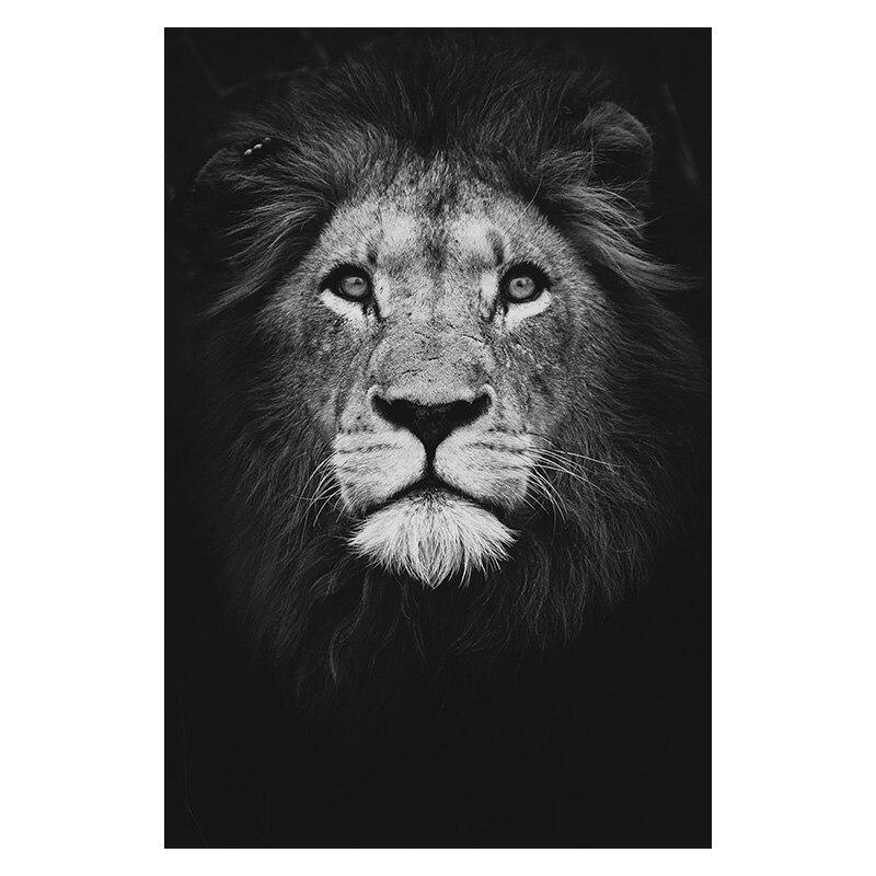 affiche murale animaux noir et blanc moderne abstraite lion
