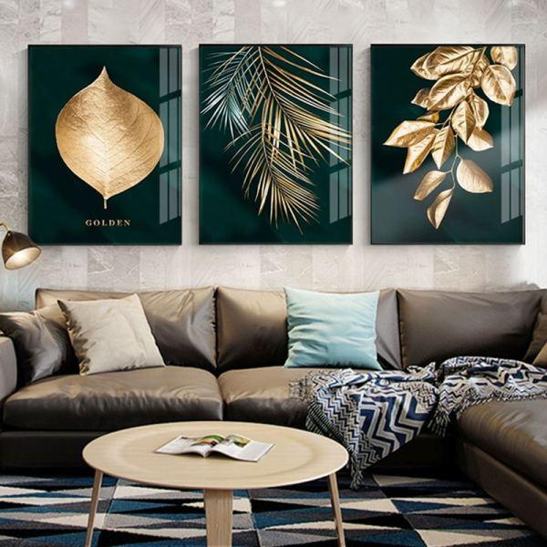Toile nature dorée, toile abstraite et moderne pour votre décoration