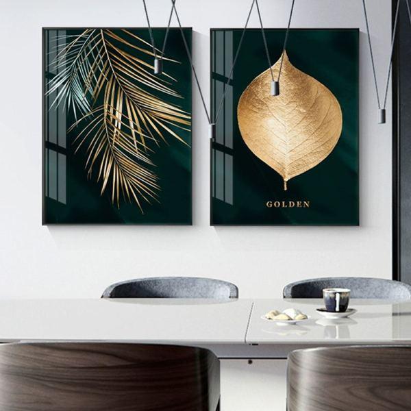 Toile nature dorée, toile feuille palmier et branche