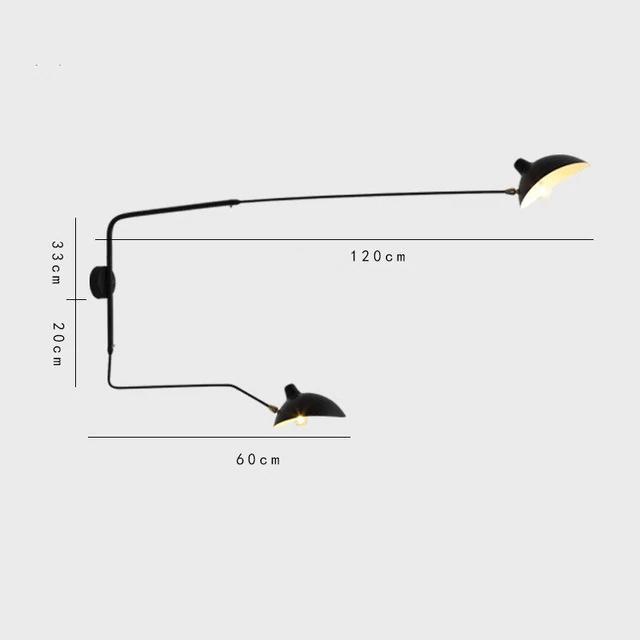 applique mural double bras designer pour intérieur moderne et design 120cm