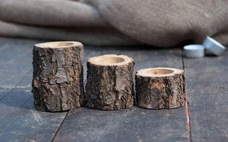 bougeoir en bois avec écorce pour décoration table
