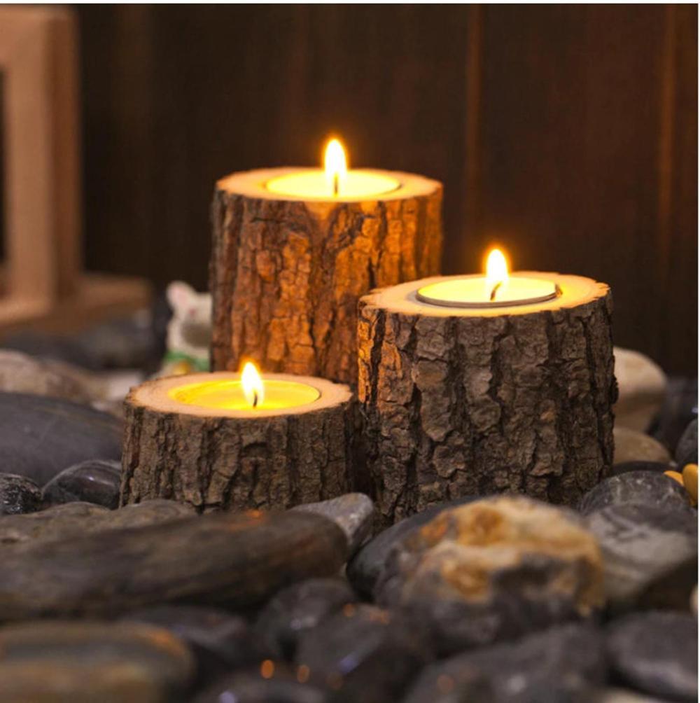 bougeoir en bois avec écorce pour décoration table chaleureux et design