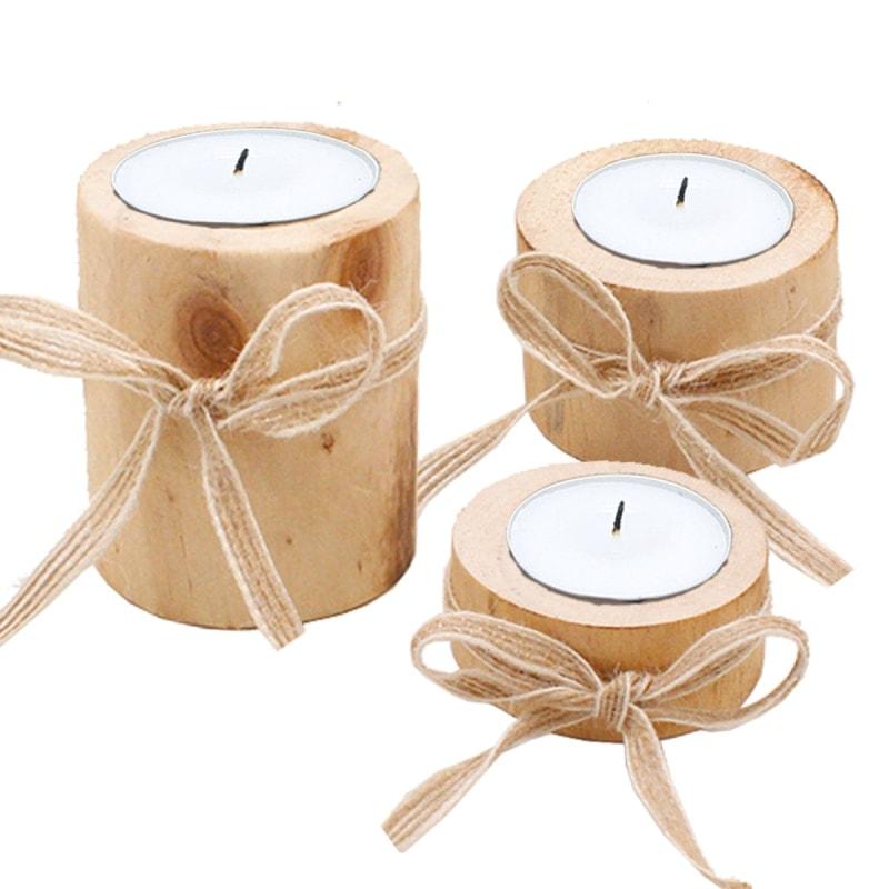 lot de 3 bougeoir en bois clair avec ruban pour décoration table