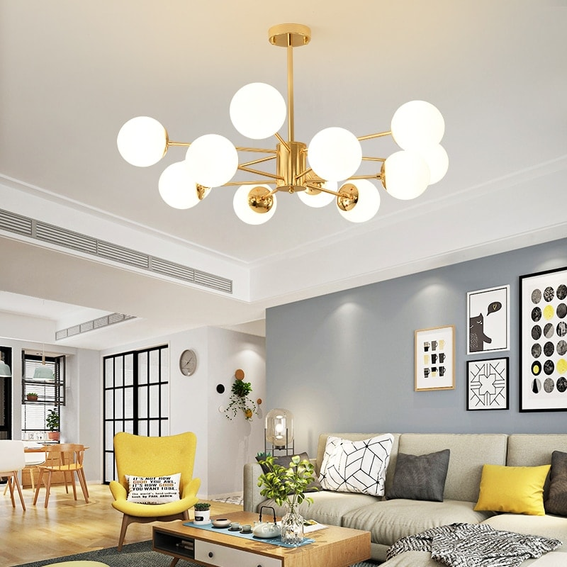 Lus® – Grand lustre chic et élégant doré avec globes
