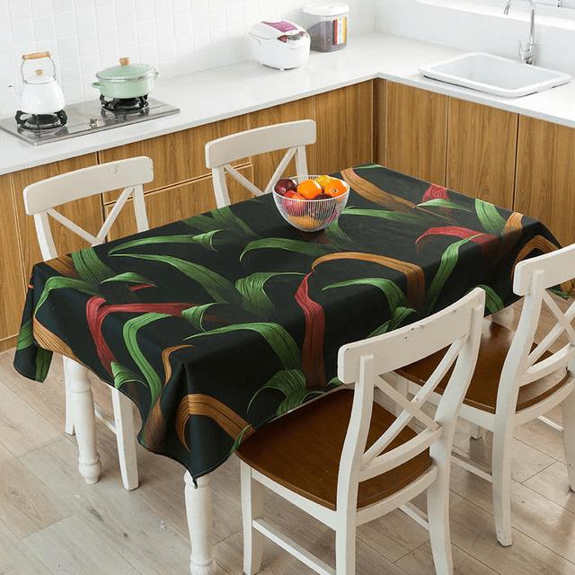 nappe table motif tropical vert foncer