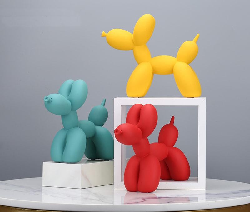 statue chien koons résine décoration table et salon multicolor