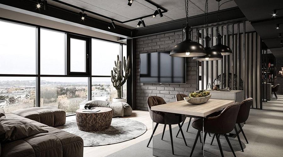 espace ouvert style décoration industrielle
