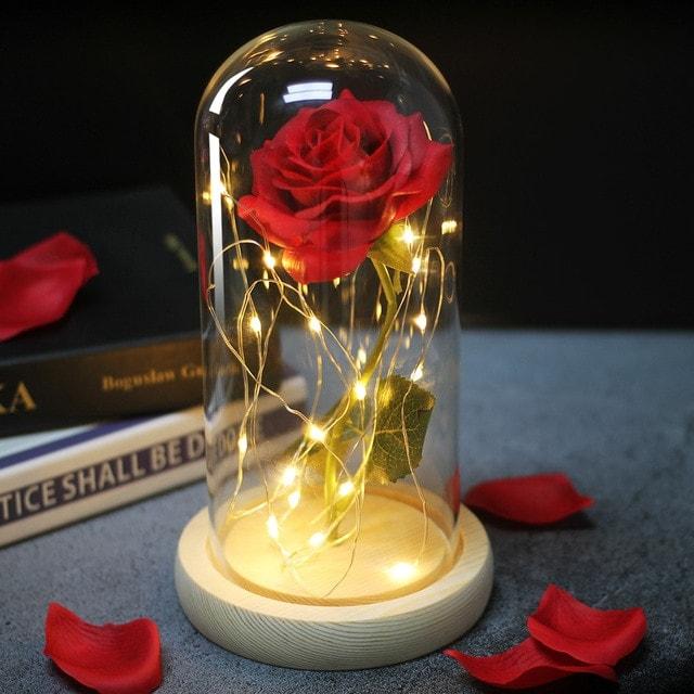 Rose Éternelle illuminé sous cloche couleur rouge