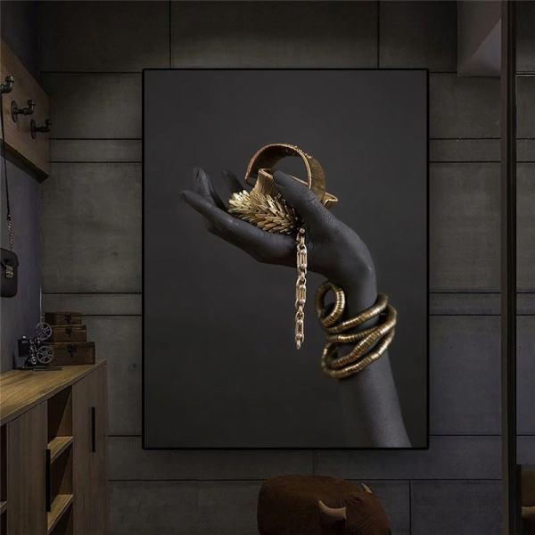 toile moderne noir or aménagement intérieur