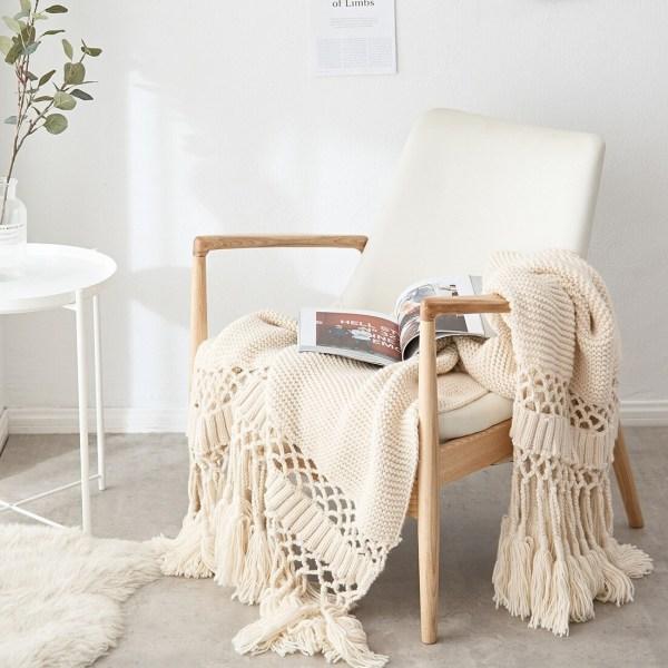 couvertures de lit tricotées plaid beige