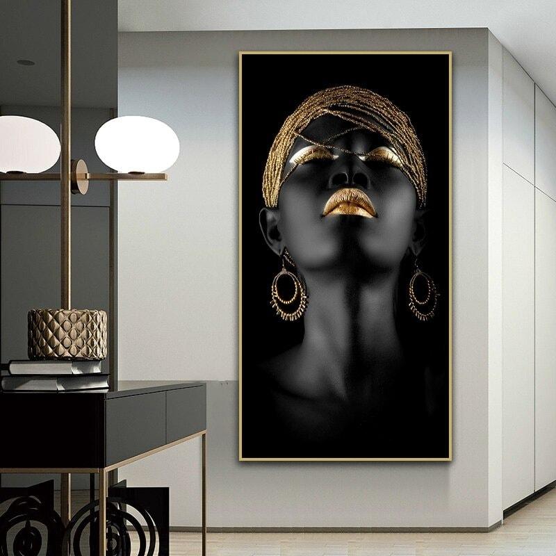 toile art moderne de femme noire décoration salon