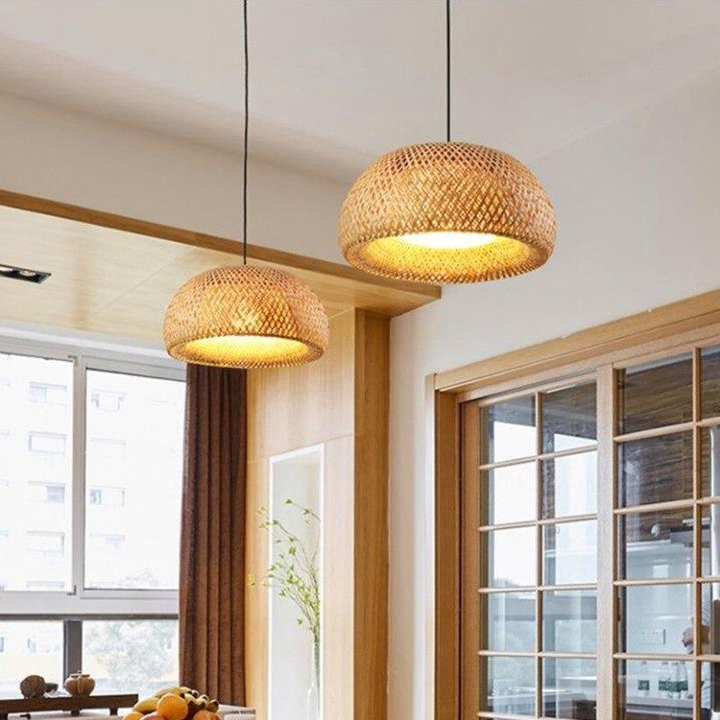 suspension luminaire en bambou artisanal décoration intérieur