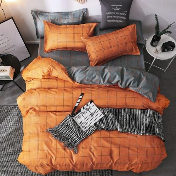 parure de lit orange 4 pièces décoration chambre