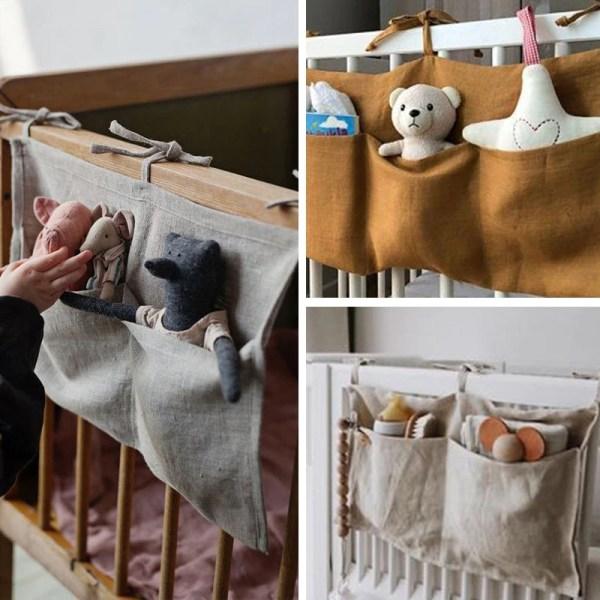 sac de rangement suspendu pour lit débé décoration enfant