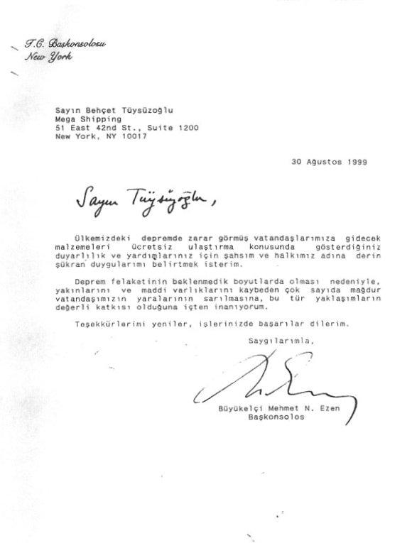 New York Büyükelçisi teşekkür yazısı
