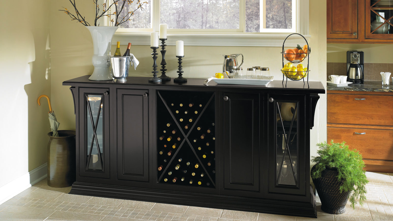 Black Storage Cabinet in Dining Room  Omega