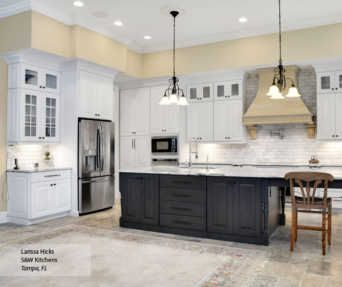Gray Cabinets With An Off White Kitchen Island Omega