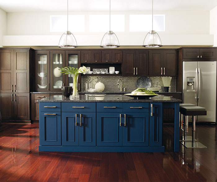 blue kitchen island fingerhut dark wood cabinets with a omega