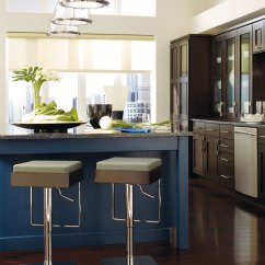 Blue Kitchen Island How To Replace Cabinets Dark Wood With A Omega