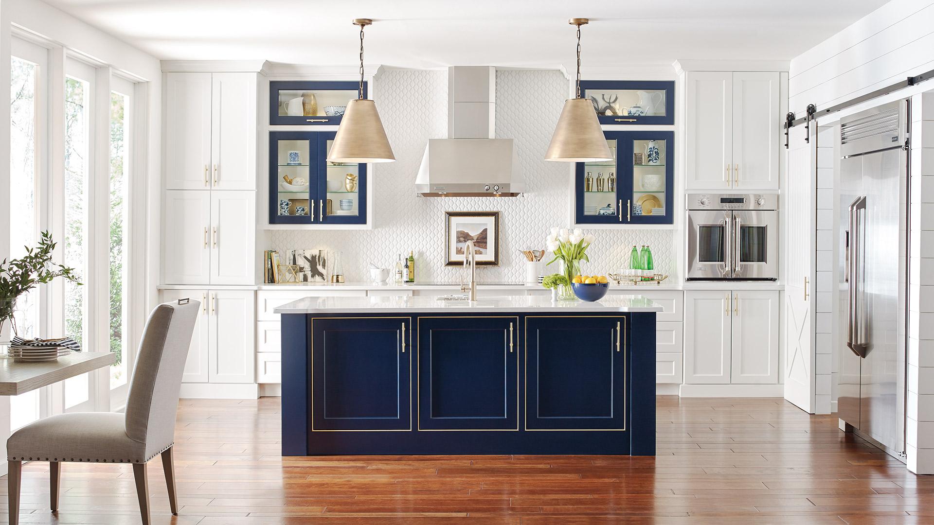 White Kitchen With Custom Blue Kitchen Island Omega