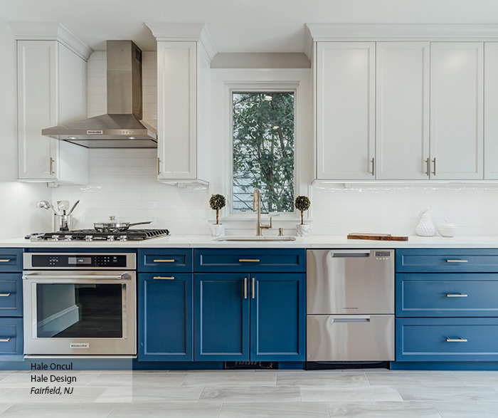 Casual Blue And White Painted Maple Kitchen Cabinets Omega