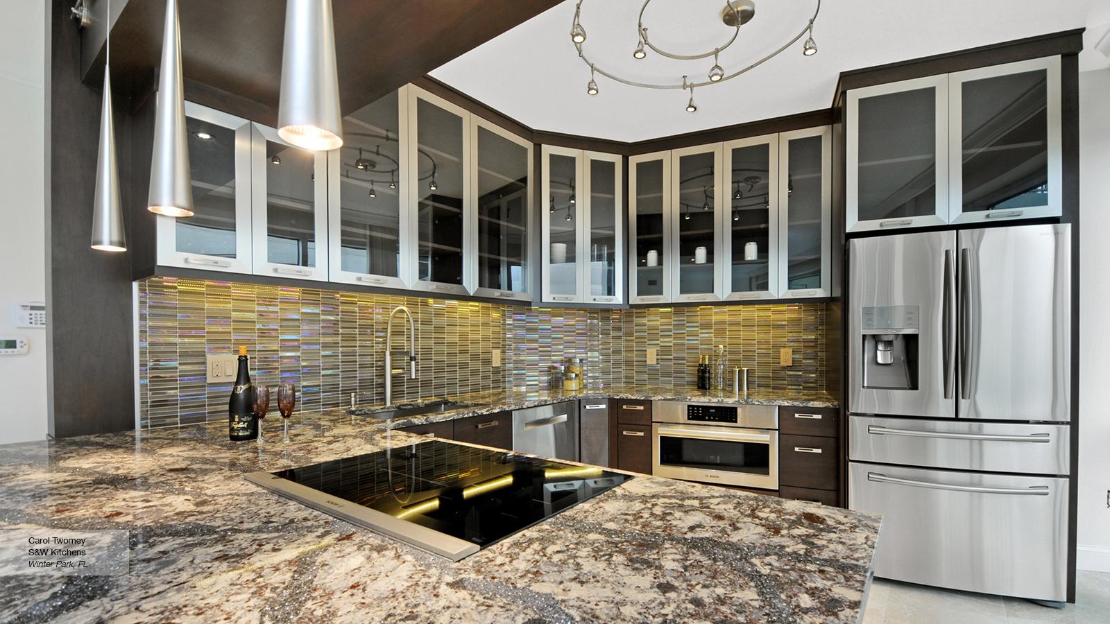 Contemporary Walnut Kitchen Cabinets  Omega