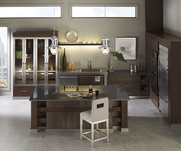 walnut cabinets kitchen islands with seating for 2 omega cabinetry tarin in riverbed and kodiak finishes