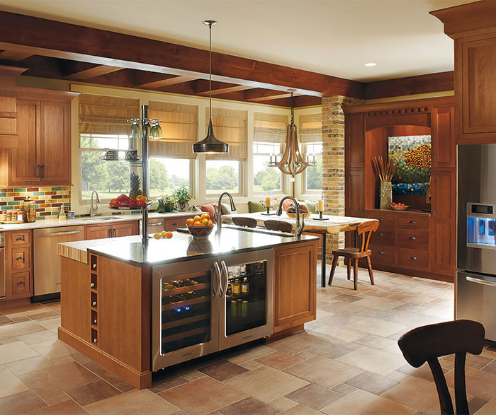 rustic kitchen cabinet counter overhang with cherry wood cabinets omega