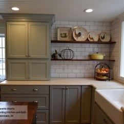 Farmhouse Kitchen Hardware Cabinet Kits Rain Blue Gray Paint On Maple - Omega