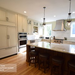 Glazed Kitchen Cabinets Kohler Sinks Omega Cabinetry Casual With Off White And A Dark Island