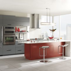 Kitchen Island Wheels Best Radio Gray Cabinets With A Red - Omega Cabinetry