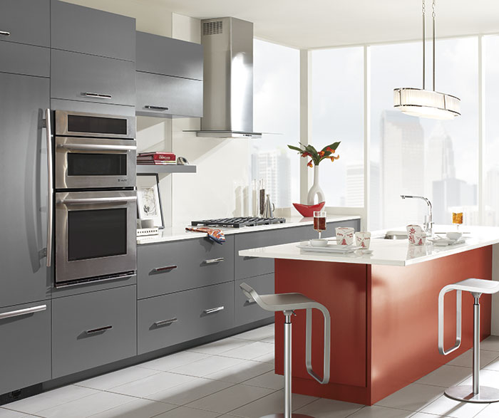 omega kitchen cabinets white appliances gray with a red island - cabinetry