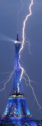 Lightning on Eiffel Tower, Paris, France