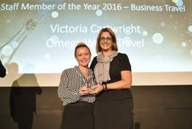 Omega's Victoria wins Best Staff Member award at Advantage Travel Partnership