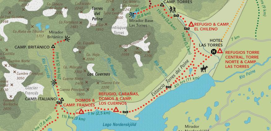 Circuito W Torres Del Paine Mapa : Circuito w em torres del paine o guia o melhor mês do ano