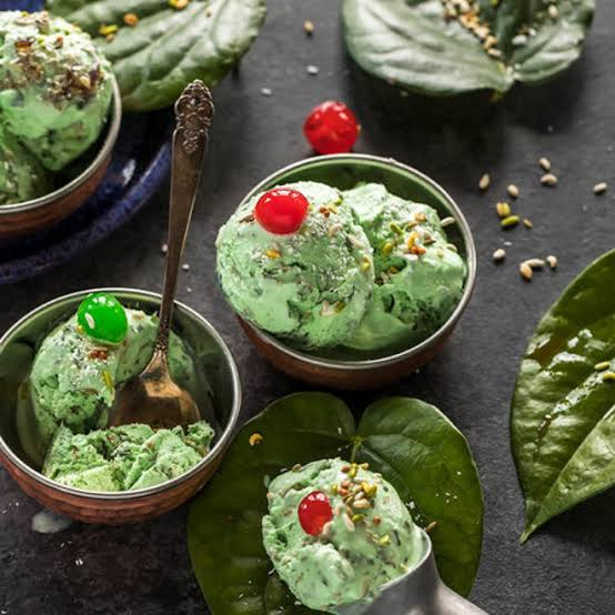 Paan ice cream with three ingredients