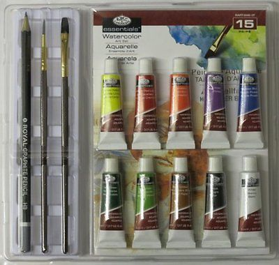 ARTISTS 15 PIECE WATERCOLOUR ART SET IN CLAMSHELL BY ROYAL